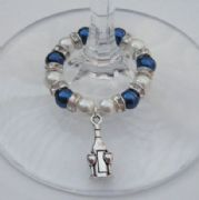 Bottle & Glasses Wine Glass Charm - Full Sparkle Style